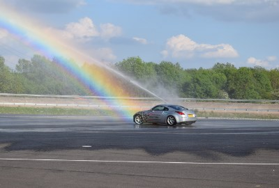 350z on wet skid pad at Millbrook
