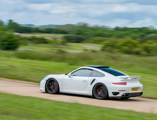 White Porsche On The Handling Circuit At Millbrook Proving Ground