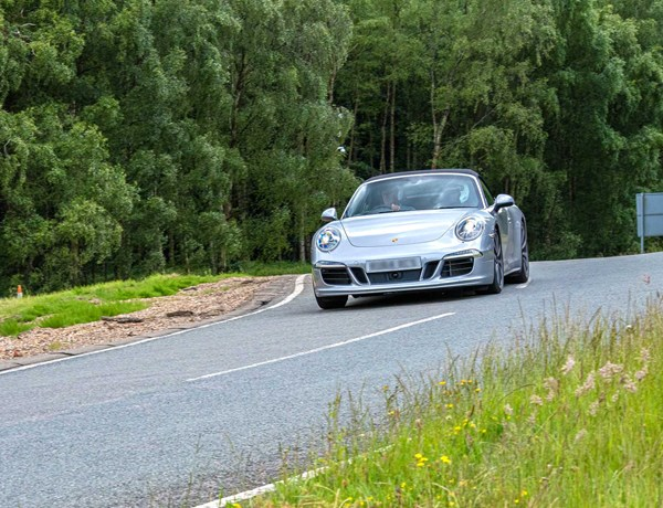 Silver Porsche On Alpine Circuit Millbrook Proving Ground