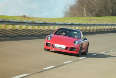 Red Porsche on High Speed Bowl at Millbrook