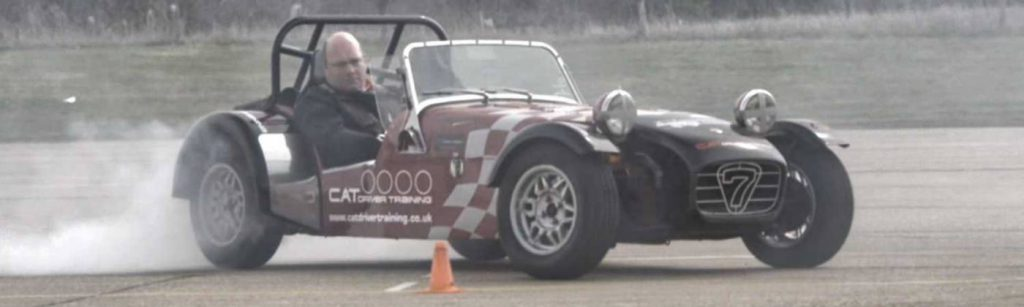 Grip limit drifting on the skid pan in Millbrook Proving Ground