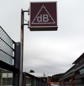 Decibel sign at Spa Francorchamps